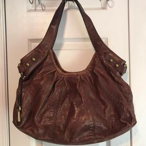 Fossil Purse Brown Distressed Leather Hobo Handbag